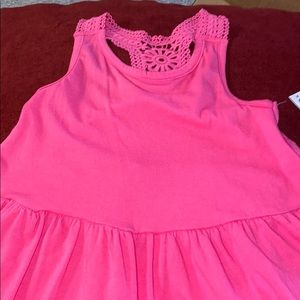 A tiered croch in hot pink
